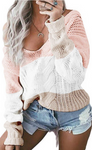 THE CLOUD V-NECK COLOR BLOCK SWEATER - Lulu Kiss