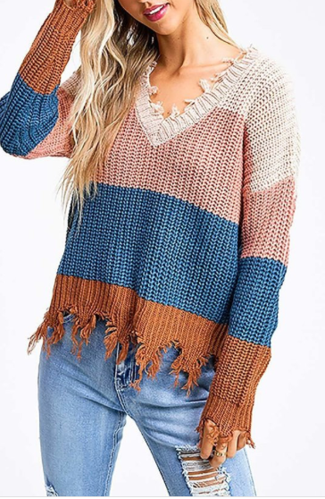 MAUVE PINK WITH COLOR BLOCK TORN LOOK SWEATER - Lulu Kiss