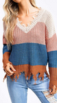MAUVE PINK WITH COLOR BLOCK TORN LOOK SWEATER - LULUKISS Boutique