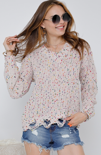 CONFETTI DISTRESSED V-NECK SWEATER - LULUKISS Boutique
