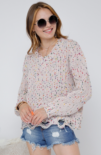CONFETTI DISTRESSED V-NECK SWEATER - Lulu Kiss