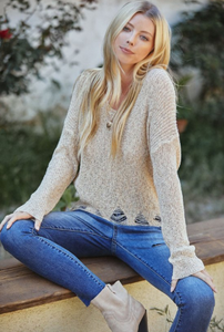 DISTRESSED RIB KNIT SWEATER TOP - Lulu Kiss
