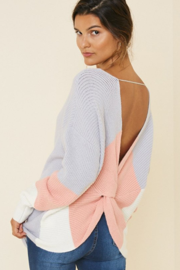 OPENBACK SEXY COLORBLOCK SWEATER - LULUKISS Boutique