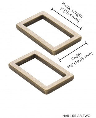 Rectangle Rings, Flat, Antique Brass