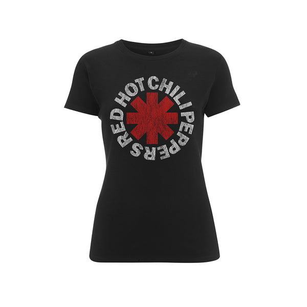 Women's Distressed Asterisk Black T Shirt