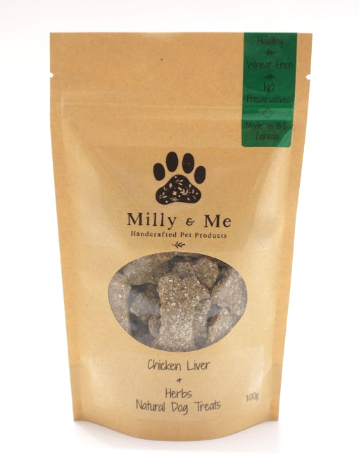Chicken Liver & Herbs Natural Dog Treats - WHEAT FREE