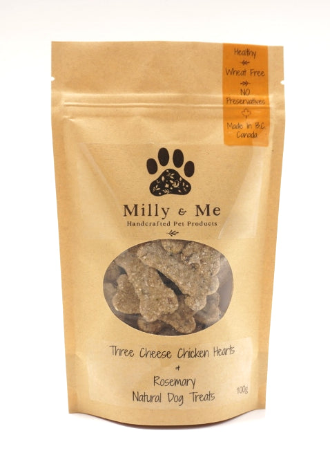 Three Cheese Chicken Hearts & Rosemary Natural Dog Treats - WHEAT FREE