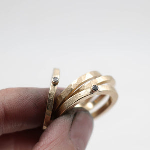 9ct matt gold ring with grey or black Diamond - made to order