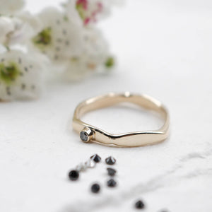 Hexy 9ct gold & diamond ring - made to order