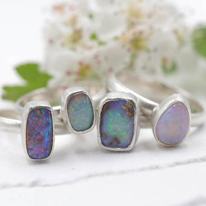 Lightning Ridge Opal ring - size UK M, US 6.5