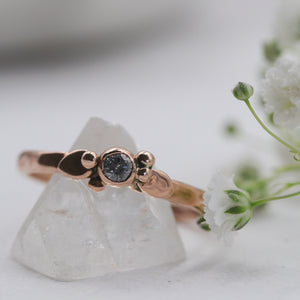9ct rose gold botanical ring with Salt & Pepper Diamond, size UK R, US 9