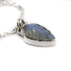 Cycles - Moonstone leaf pendant