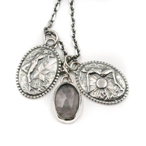 Goddess Pendant charm set with Rose Quartz