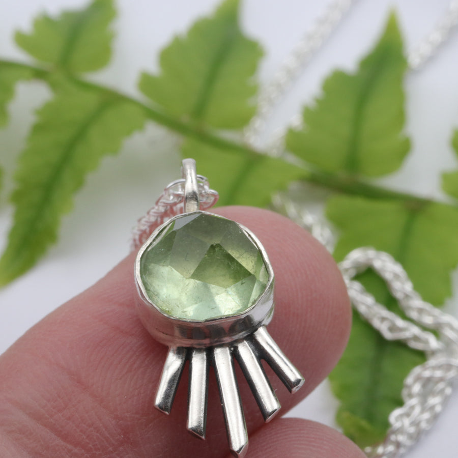 Light Green Tourmaline all seeing eye pendant