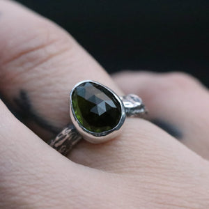 Green Tourmaline Forest ring size UK L // US 6
