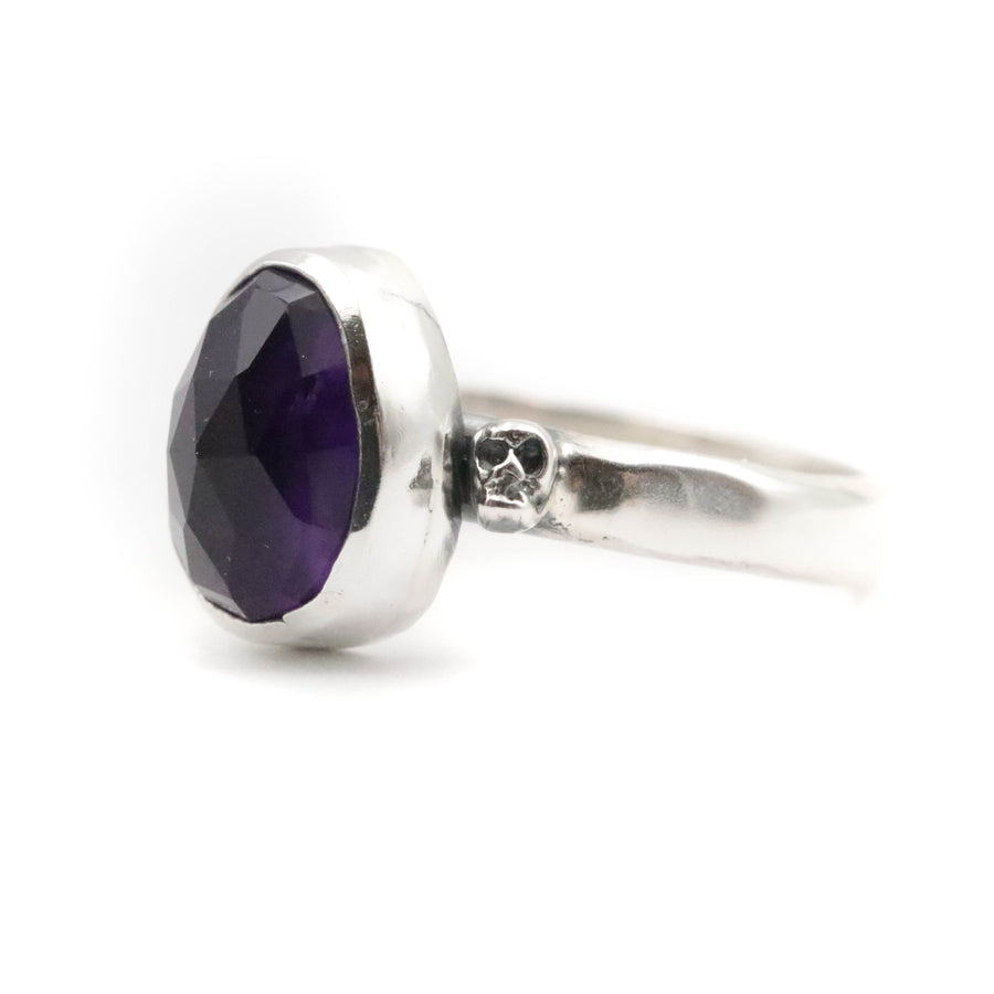 Amethyst Skully Ring size UK O, US 7.5