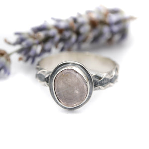 Rose Quartz Ring size UK S, US 9.5