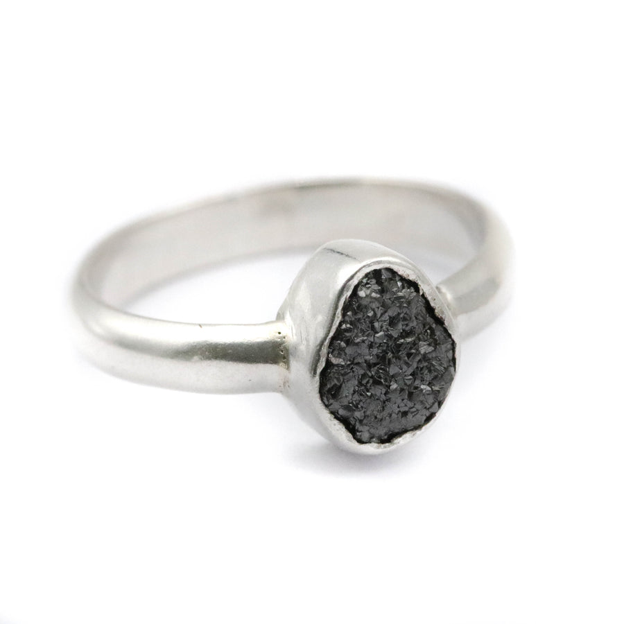 Rough black Diamond ring - size UK K // US 5.5