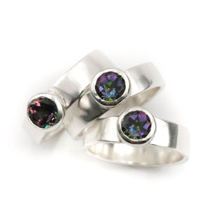 Aurora Mystic Topaz Ring size UK P, US 8