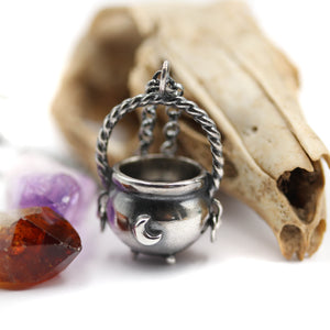 """The Old Hags Spell pot"" - Sterling Silver Cauldron pendant"