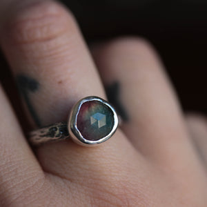 Bi-colour Tourmaline Forest ring size UK R // US 9