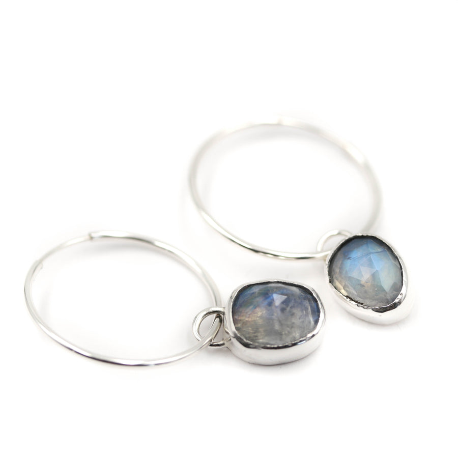 Moonstone Hoop Earrings