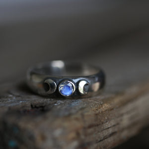 Triple Moon Ring size UK P, US 8