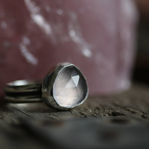 Rose Quartz Ring size UK M, US 6.5