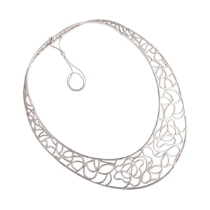 Ornamental silver necklace