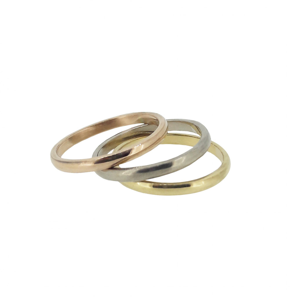 Rose, yellow and white gold wedding bands