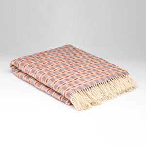Plaid en pure laine - Trame chardon orange