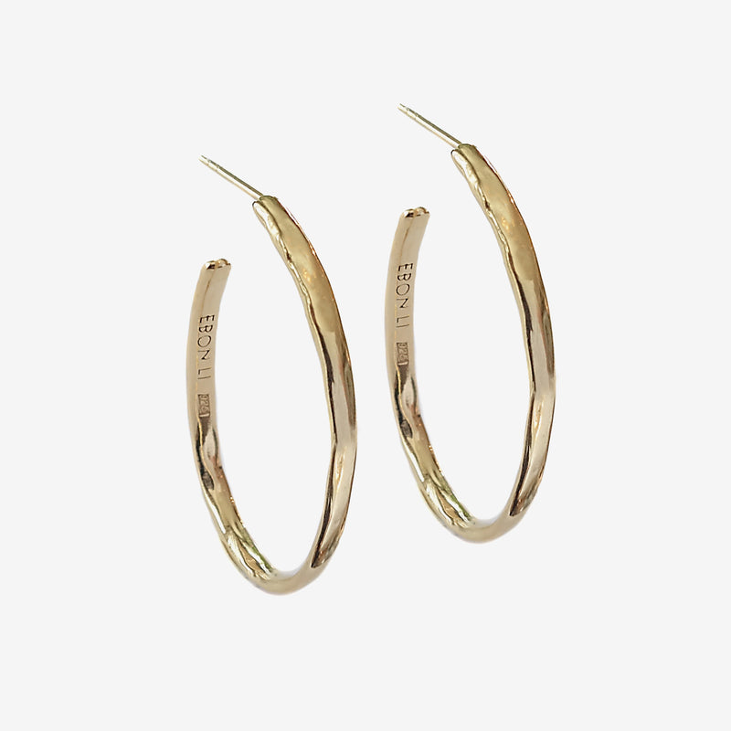 Wave hoop earrings vermeil