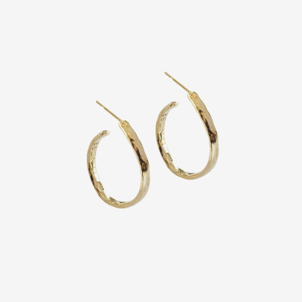 Wave hoop earrings small vermeil