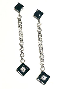 Dangling Diamonds with onyx black and diamond in sterling silver