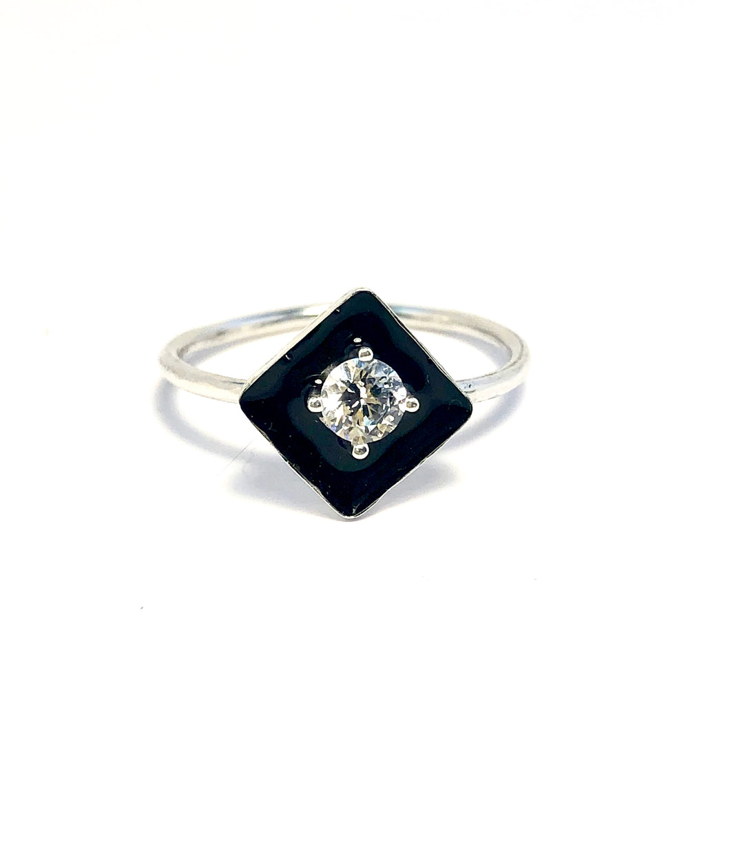 Diamond with Black Onyx Statement Ring