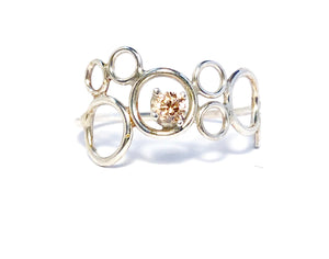 Eternity Circle Ring in silver and Peach Morganite
