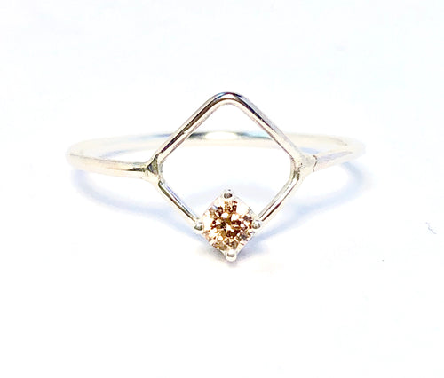 Petite Diamond shape ring with Morganite or Onyx Statement ring