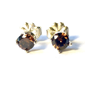 Chocolate studs Natural Brown Smoky Quartz