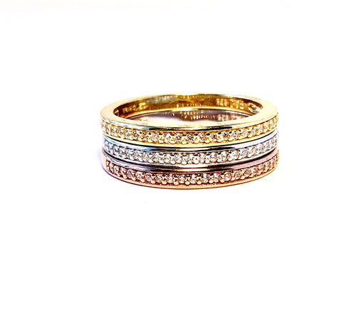 TRI-COLOR Stacking Eternity Ring Set-in Gold, Rose Gold, and Rhodium Plating