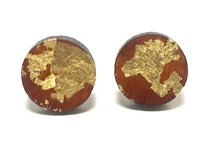 Gold leaf wood stud earrings