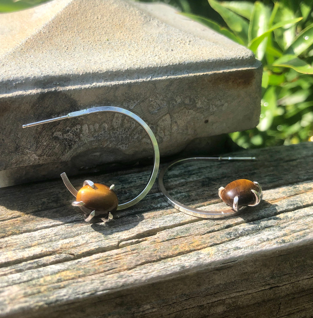 Floating tiger eye hoop earrings: large hoop earrings, hoop earrings with charm, chunky hoop earrings