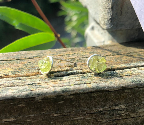 Peridot cluster stud earrings: August birthstone Jewelry