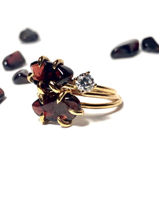 Raw Garnet Ring With Accent