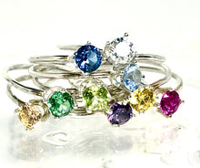 Load image into Gallery viewer, Dainty Birthstone Stacking Ring