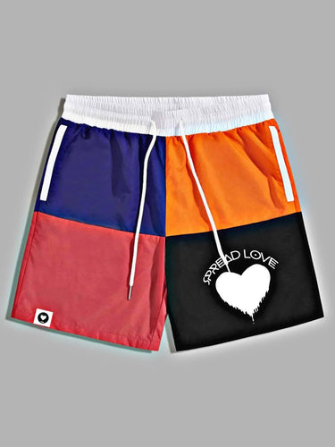 Spread Love Color Block Drawstring Board Shorts