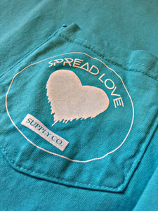 Spread Love Long Sleeve Pocket Tee Original (Lagoon Blue)