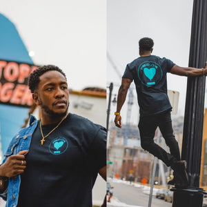 Spread Love Classic Graphic Tee (Black & Teal)