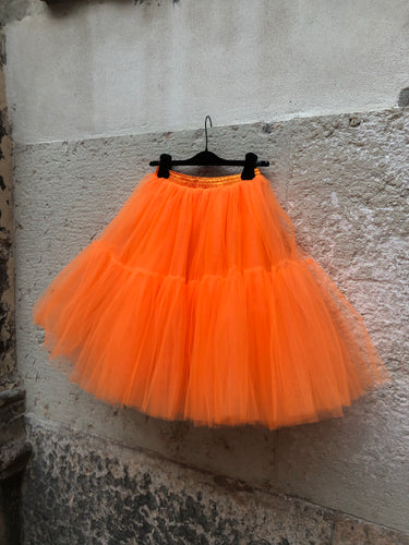 Gonna tulle arancione midi
