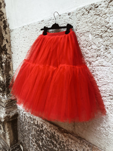 Gonna tulle rossa midi