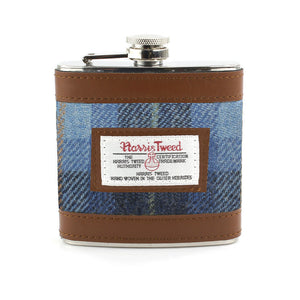 Harris Tweed Pale Blue Castle Bay Tartan Hip Flask
